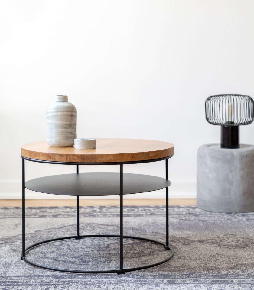 stolik okrągły z półką