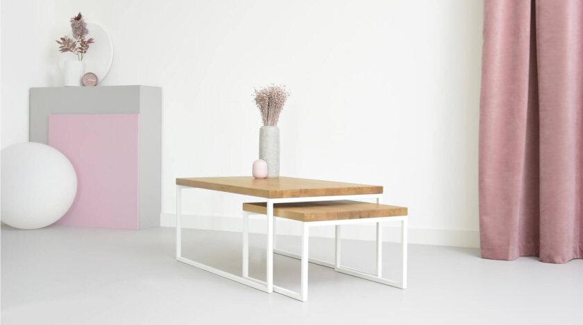 zestaw stolikow nowoczesnych debowych minimalistycznych