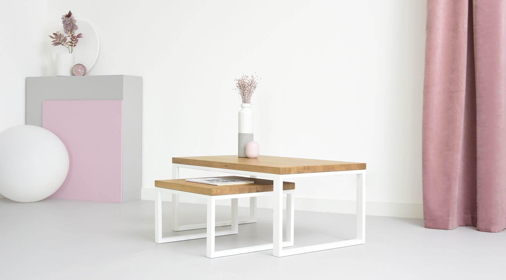 biale stoliki stal drewno nowoczesne