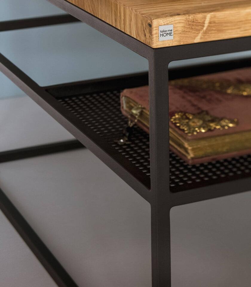 stolik industrialny z polka czarny debowy