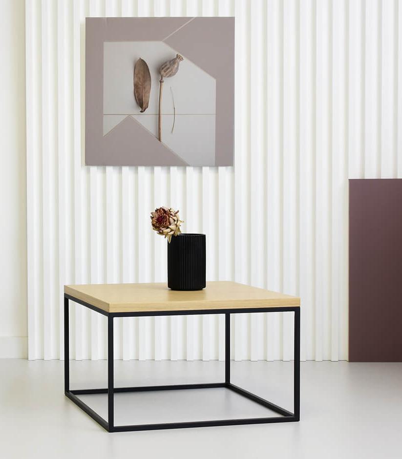industrialny kwadratowy stolik kawowy czarny drewno stal