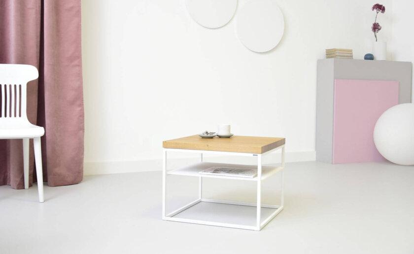 skandynawski industrialny stolik z polka bialy