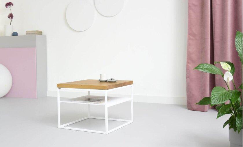 nowoczesny stalowy stolik z polka debowy