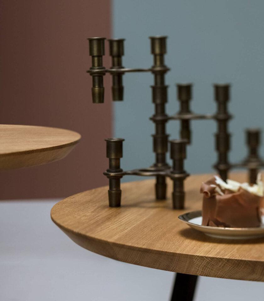 stolik kawowy nowoczesny okrągły dębowy
