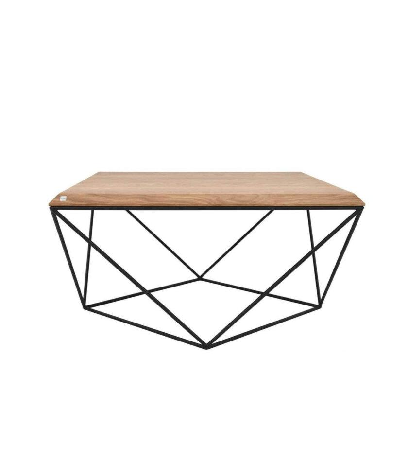stolik kawowy industrialny z dębowym blatem polski design