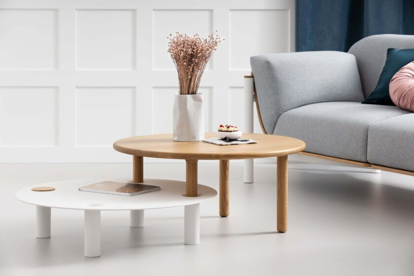 set of two round coffee tables