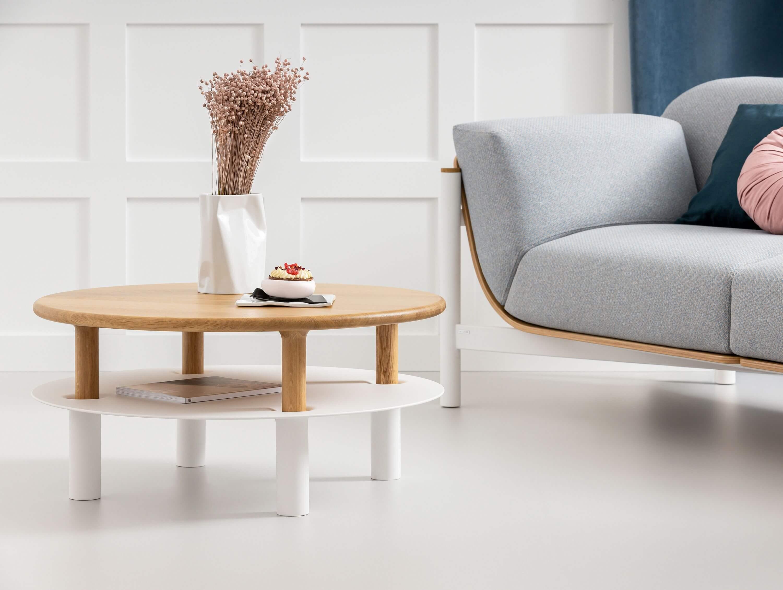 stolik skandynawski biały dębowy zestaw