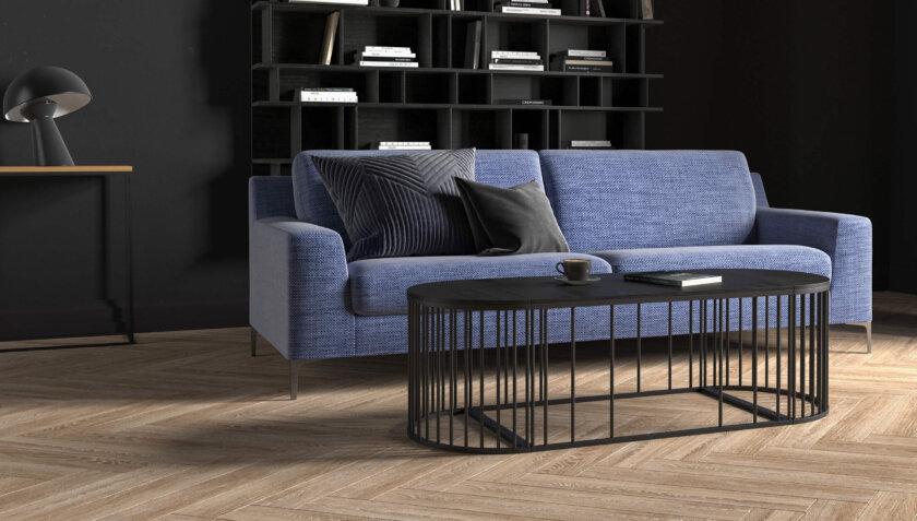 czarny owalny stolik do sofy