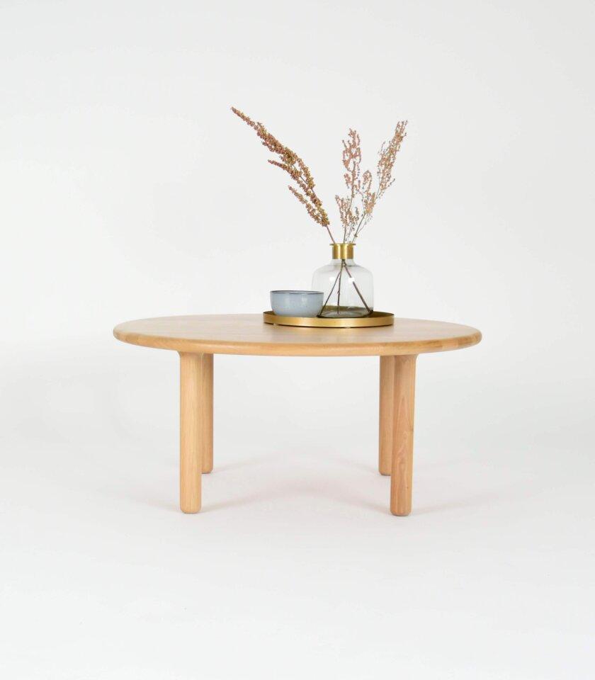 drewniany okragly stolik kawowy