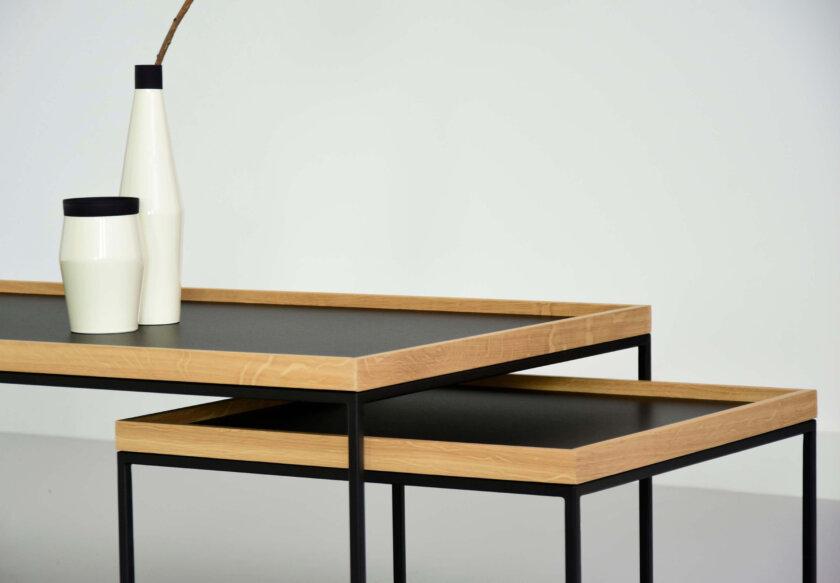 stolik z taca kwadratowy prostokatny czarny