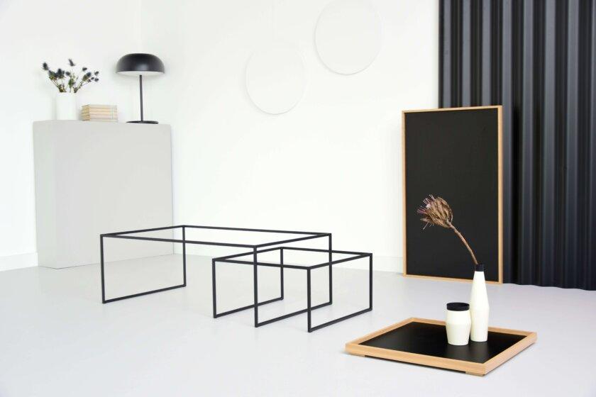 stoliki czarne debowe z taca