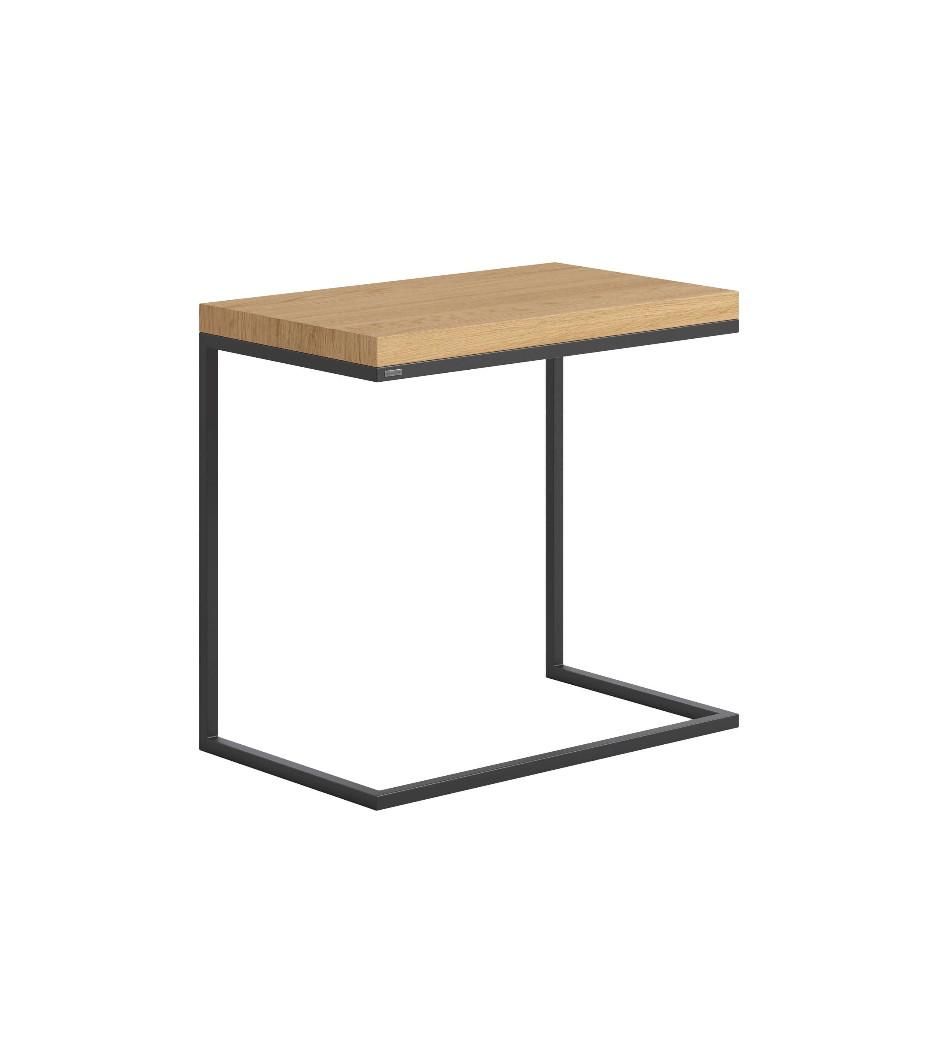 stolik pomocniczy czarny i dębowy