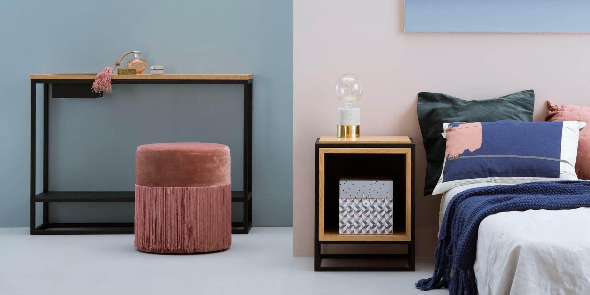 meble design stolik nocny debowy
