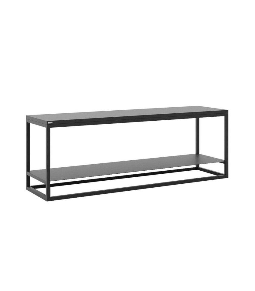 minimalistyczna czarna polka pod telewizor
