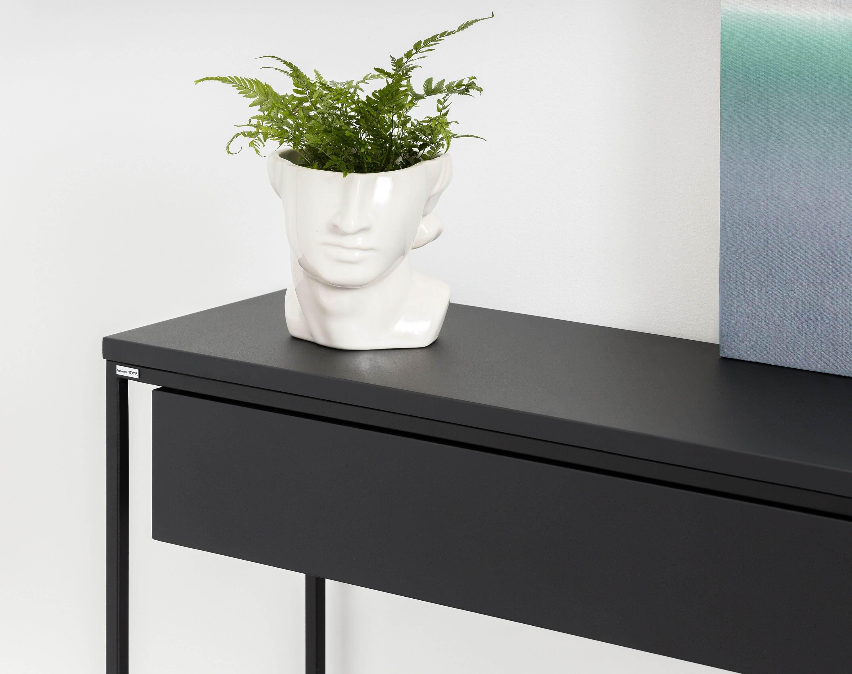 czarna konsola z szuflada nowoczesna