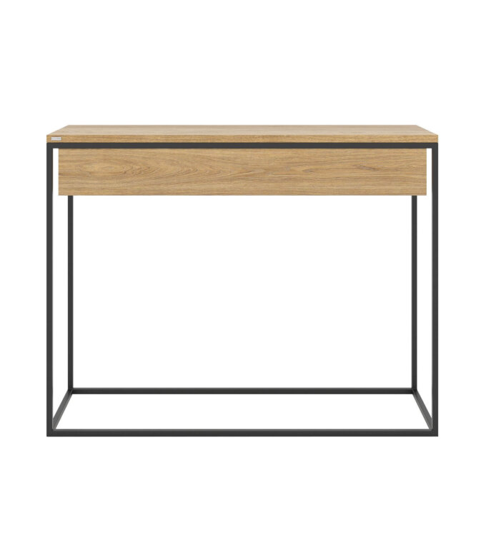 minimalistyczna czarna konsola z szuflada nowoczesna skandynawska