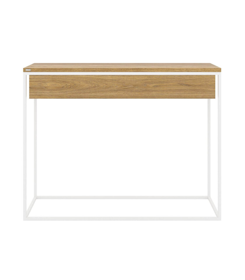 minimalistyczna biala konsola z szuflada nowoczesna skandynawska