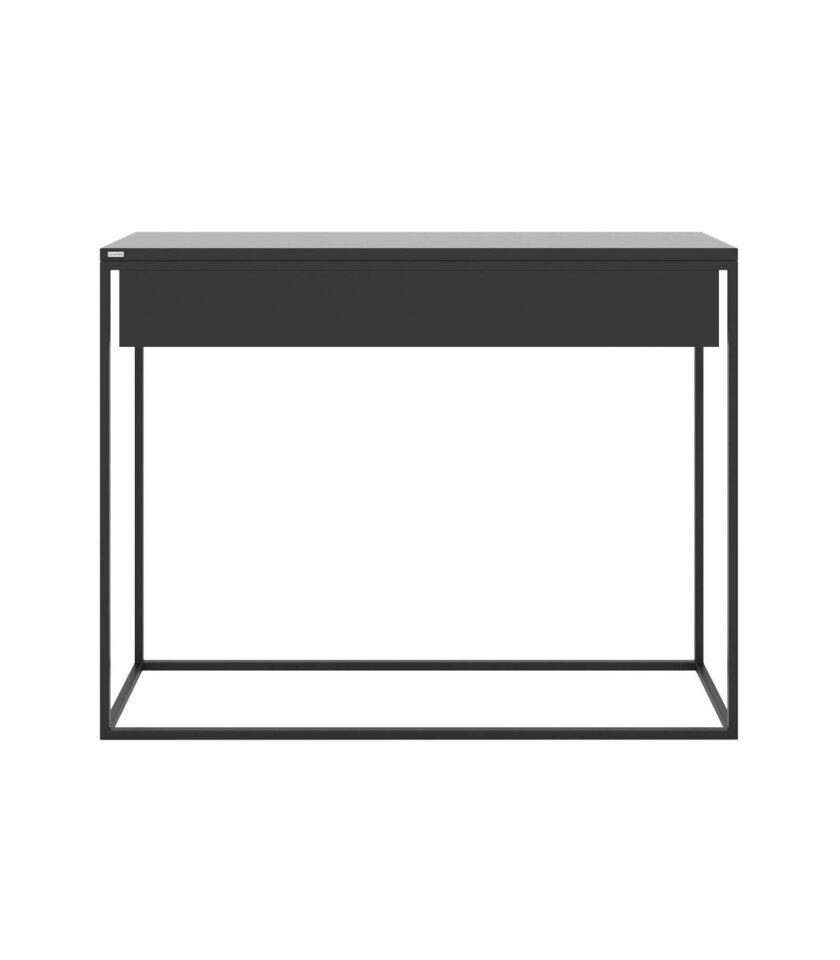 minimalistyczna czarna konsola z szuflada nowoczesna