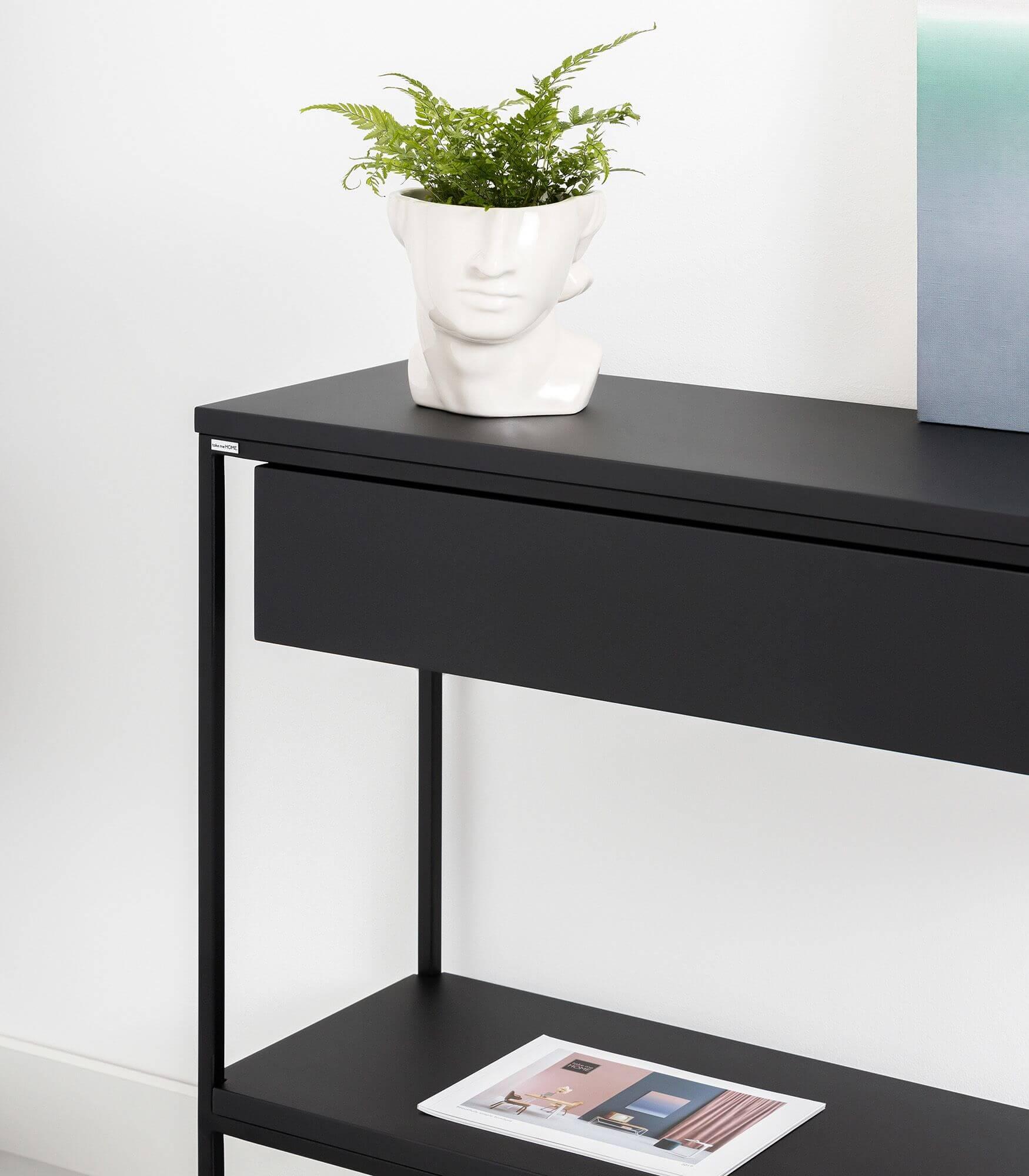 nowoczesna konsola dębowa z półką