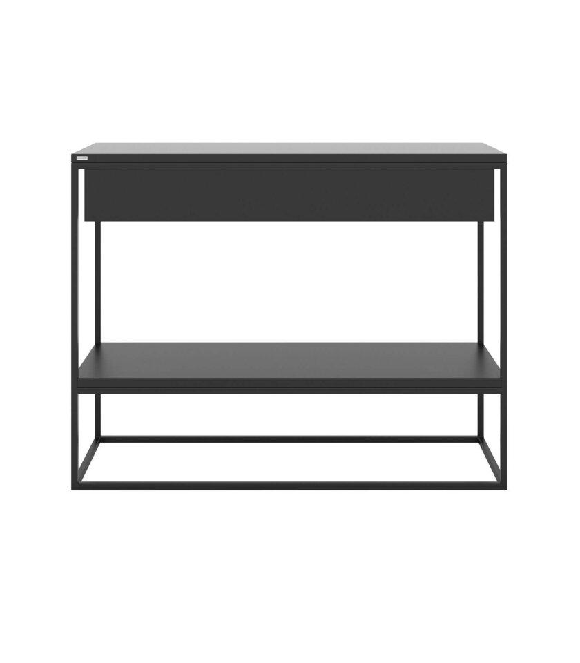 minimalistyczna czarna konsola z szuflada polka
