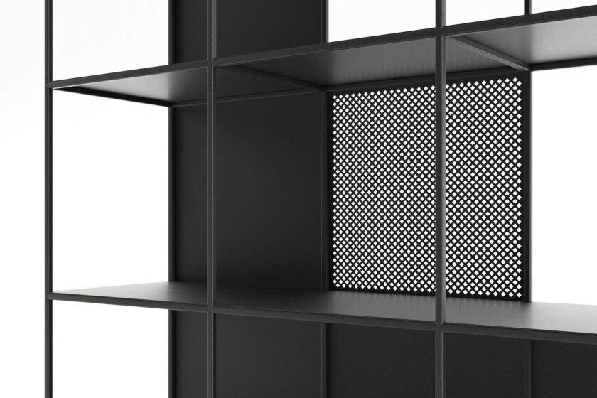 regal stalowy minimalistyczny