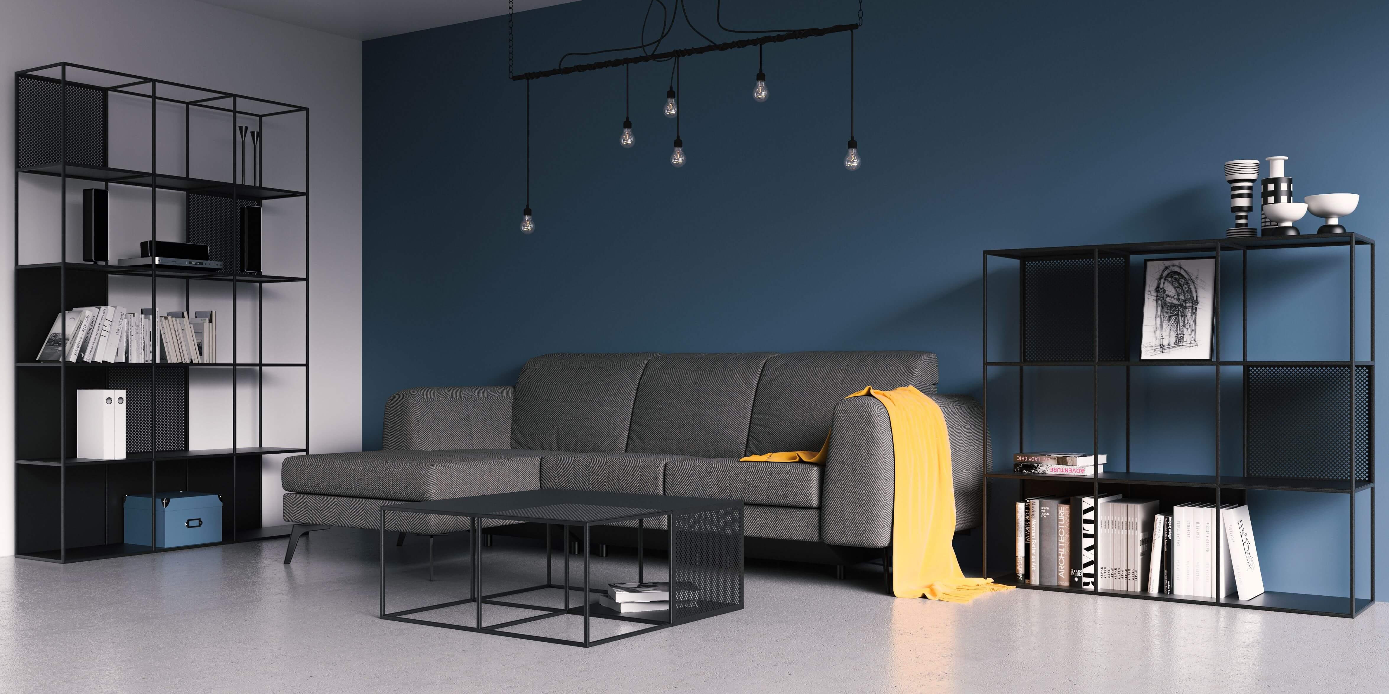 regal czarny nowoczesny minimalistyczny do salonu