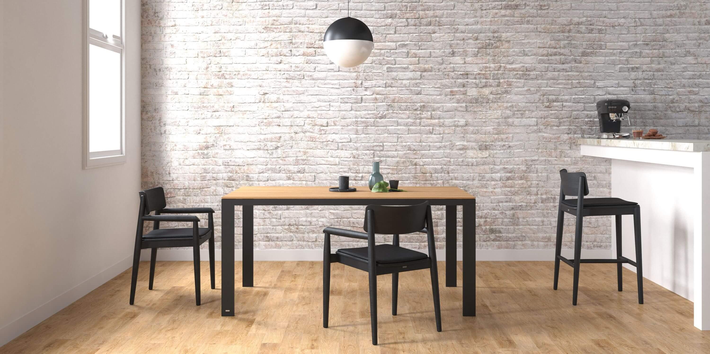 stol do jadalni z blatem debowym czarny