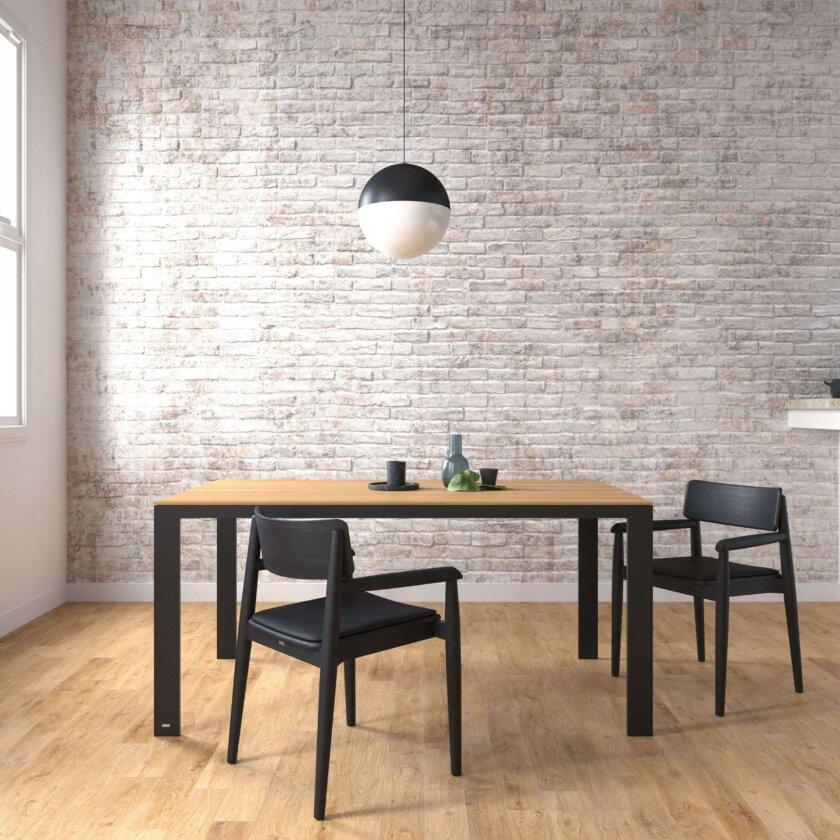 stol czarny stal drewno