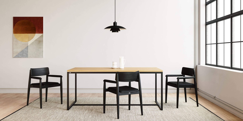 prosty stol do jadalni czarny debowy