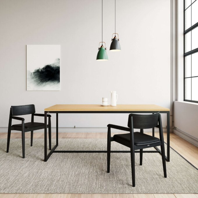 industrialny stol stal drewno debowe