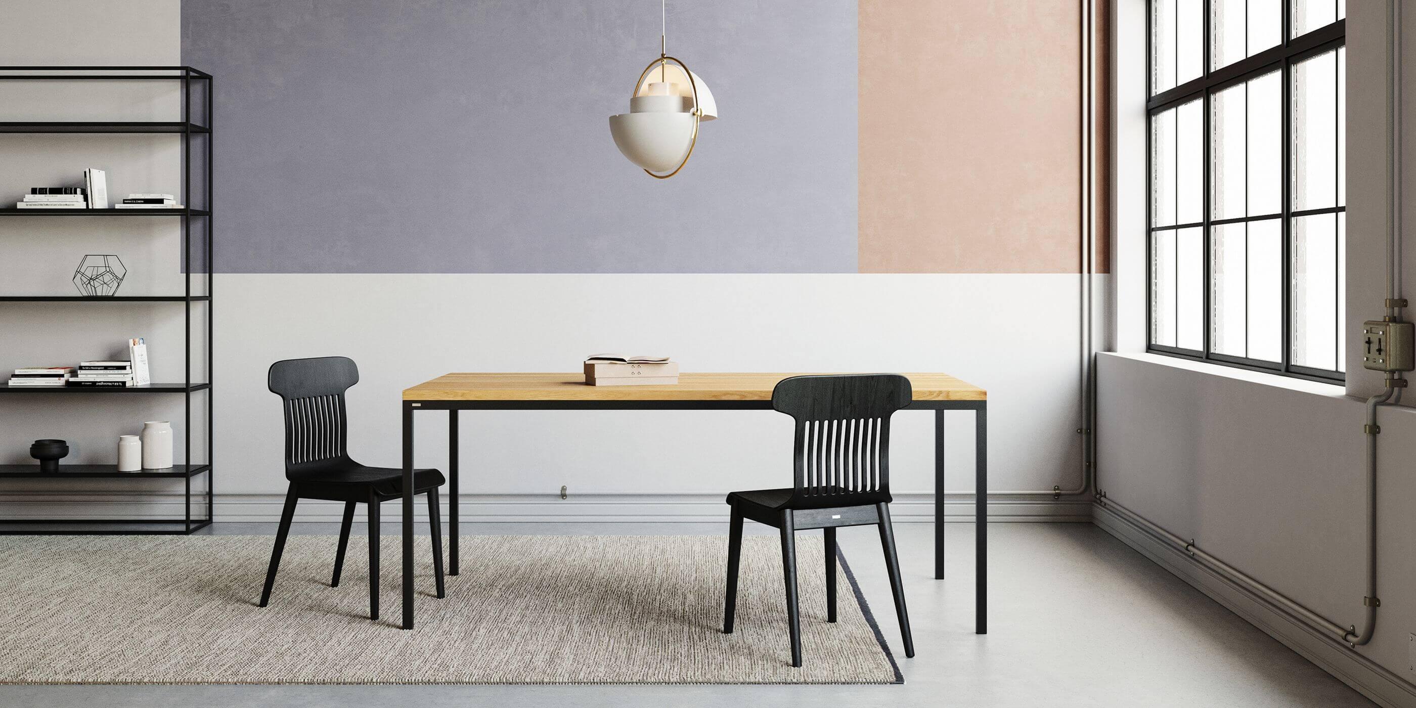 czarny stol industrialny z debowym blatem