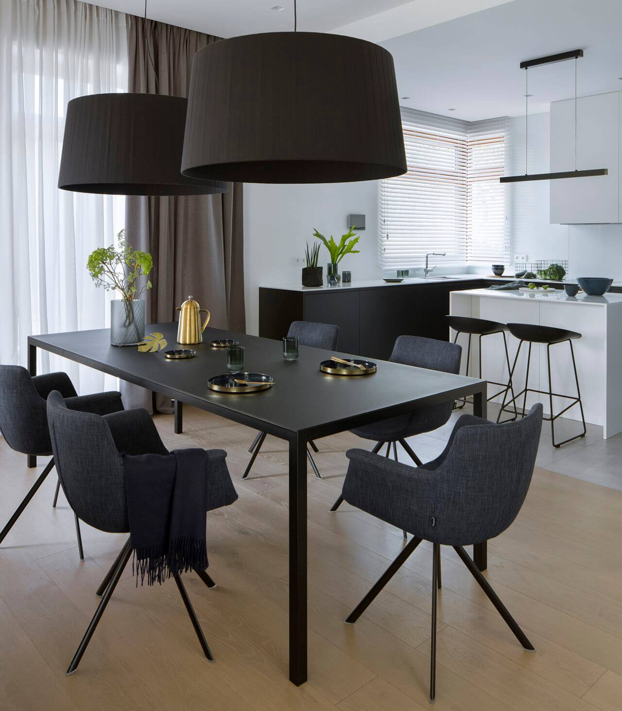 nowoczesny czarny minimalistyczny stol prosty