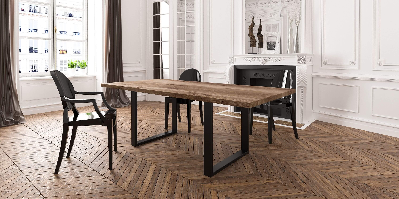 industrialny stol debowy czarny