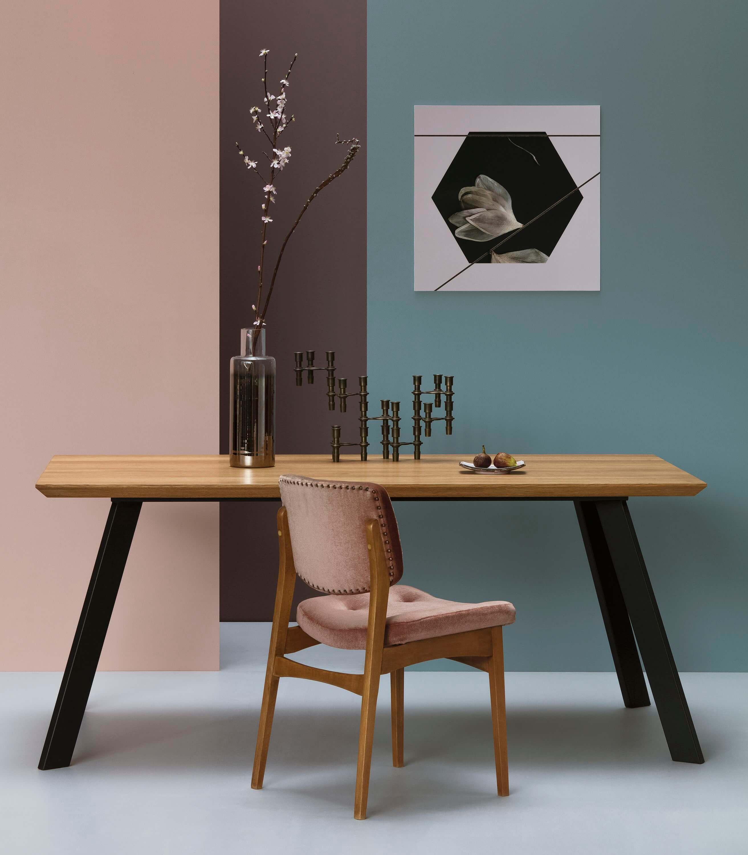 stół industrialny drewniany dębowy czarny do salonu