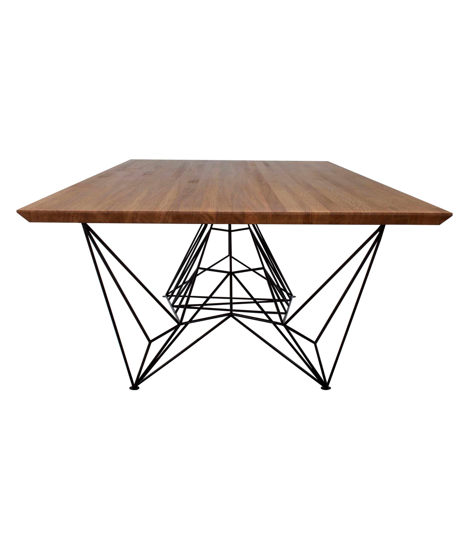 nowoczesny stół konferencyjny drewniany blat czarne stalowe noogi