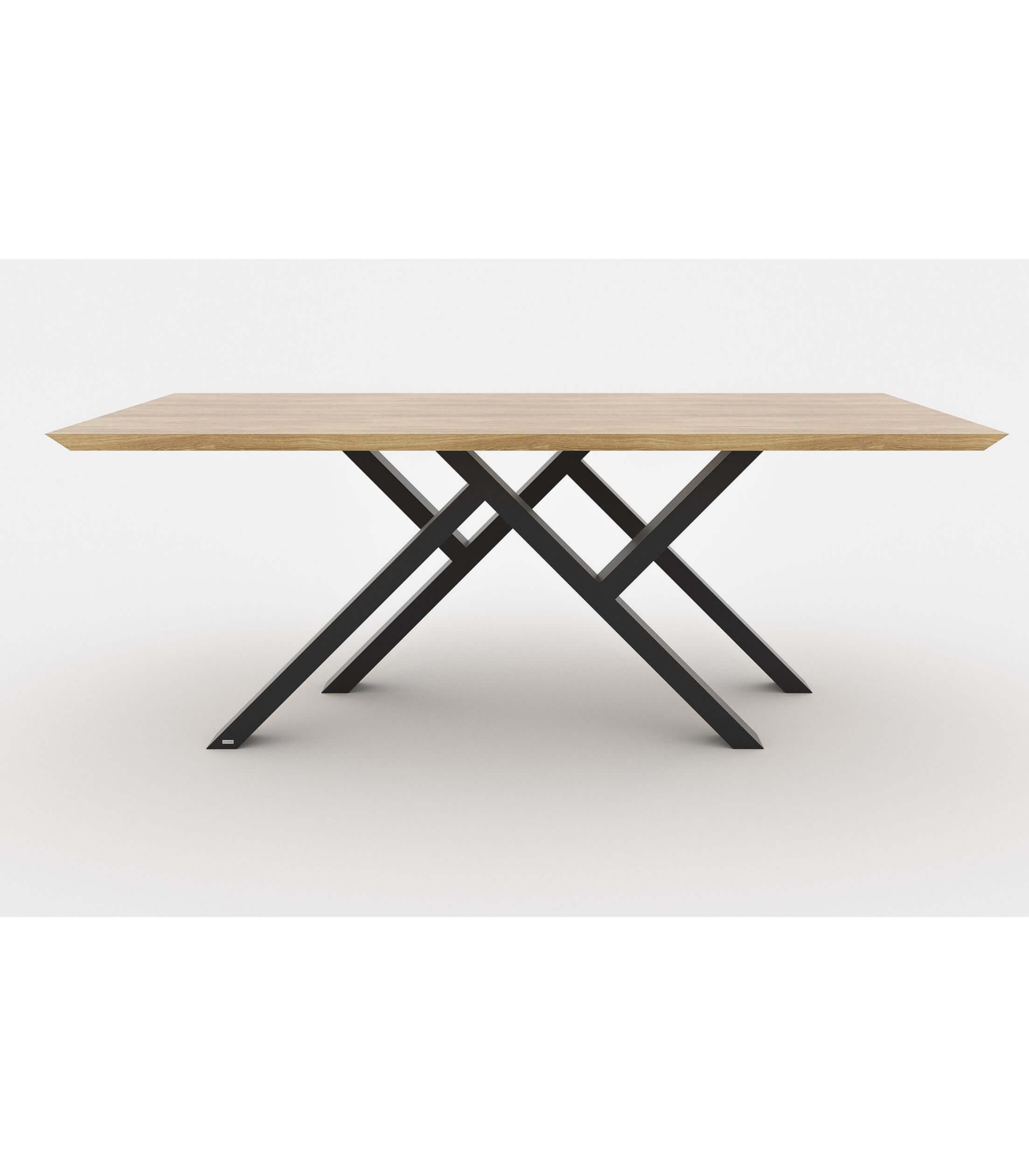 stół loft nowoczesny z drewnianym blatem do salonu