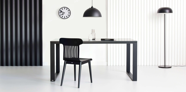 czarny dab stol minimalistyczny