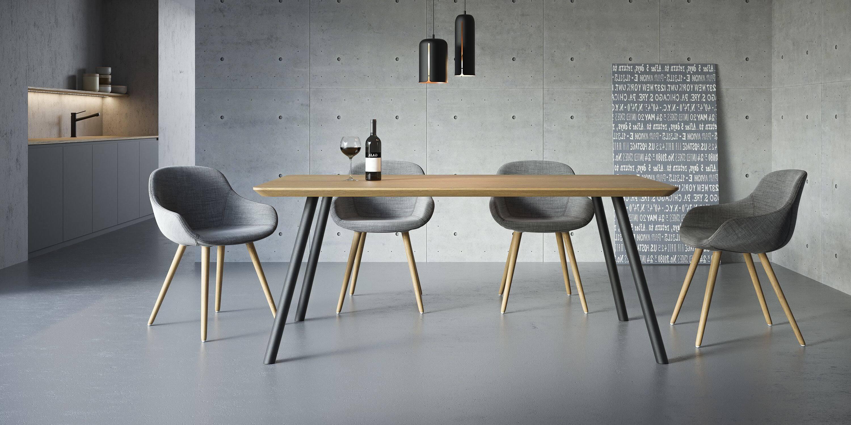 stol w stylu skanynawskim debowy blat