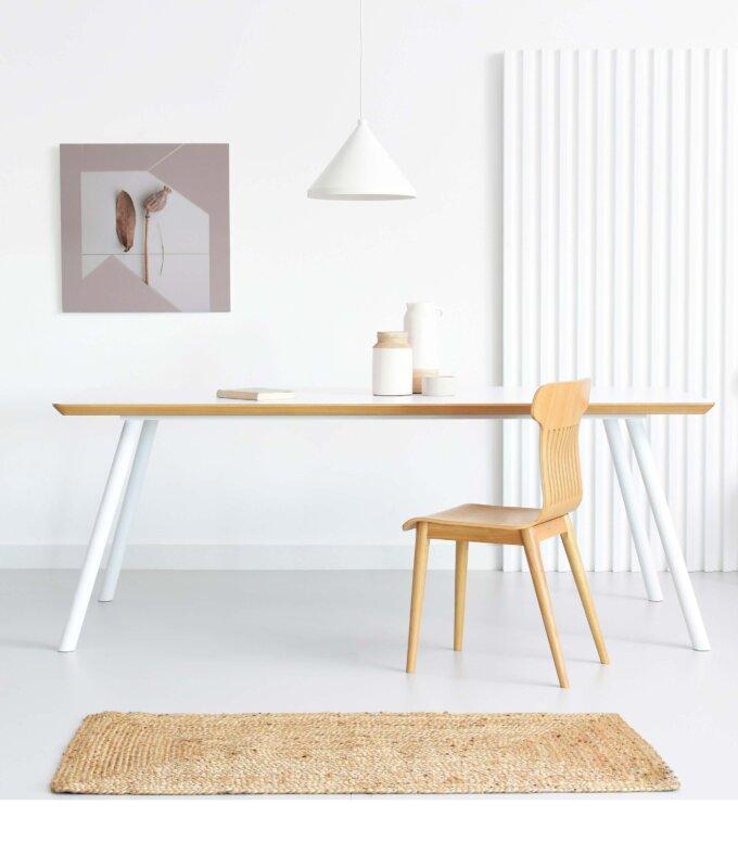 stol bialy nowoczesny skandynawski laminat dab