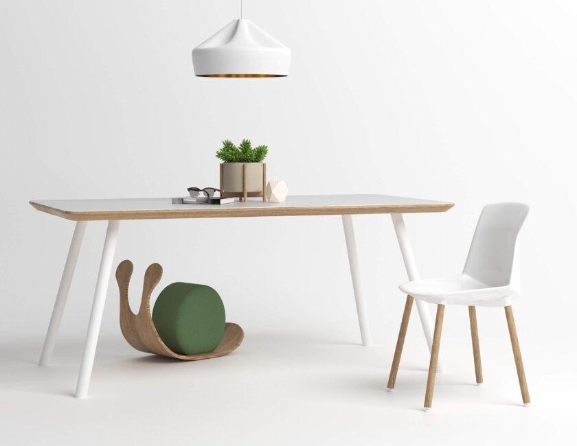 stol z bialym blatem do jadalni polski design