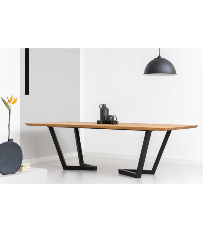 stol elegancki debowy czarne nogi duzy konferencyjny do salonu
