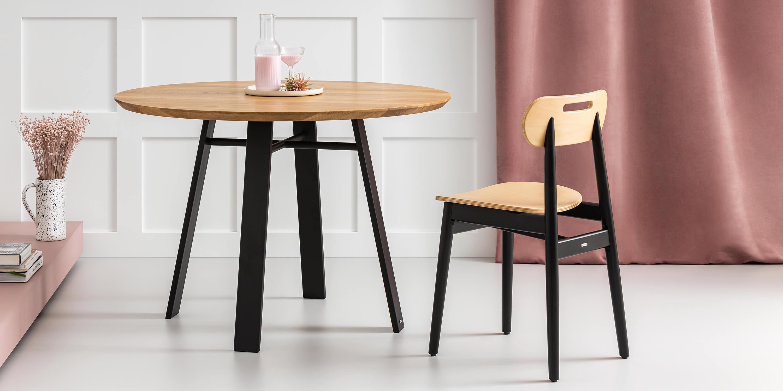 stol okragly w stylu industrialnym czarny debowy cm
