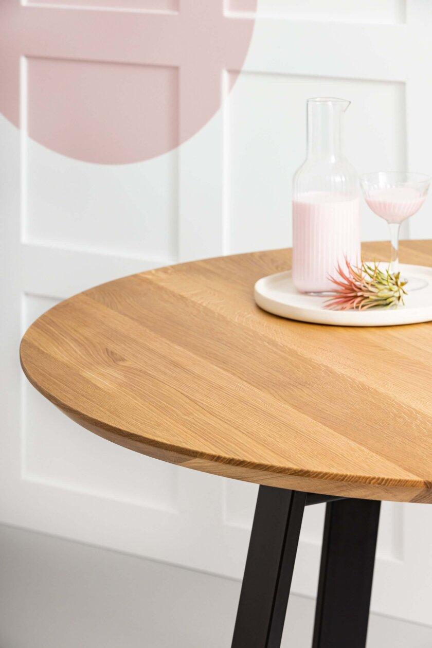 okragly stol debowy nowoczesny