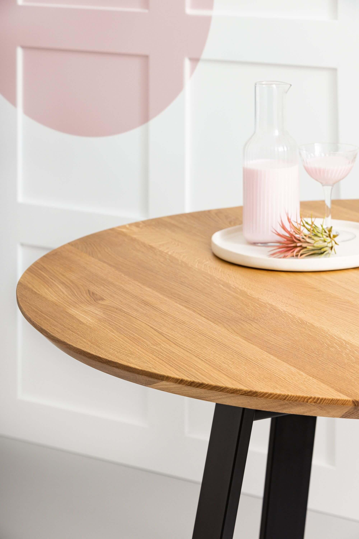 stół dębowy okrągły nowoczesny do salonu drewniany