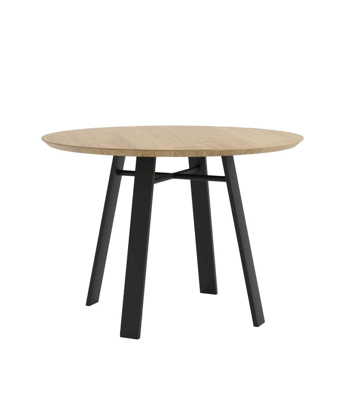 stół czarny okrągły skandynawski z dębowym blatem do jadalni
