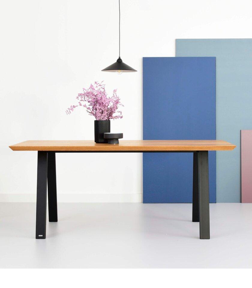 stol industrialny z debowym blatem