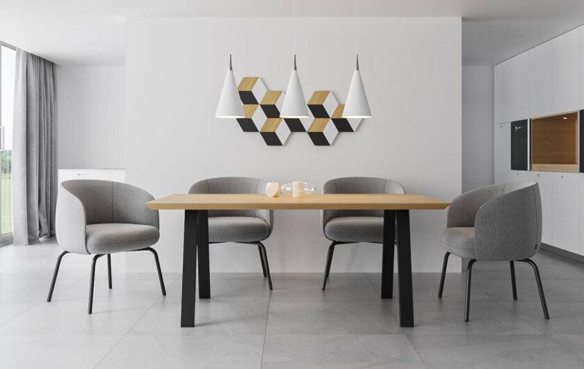 stol nowoczesny stal drewno czarny
