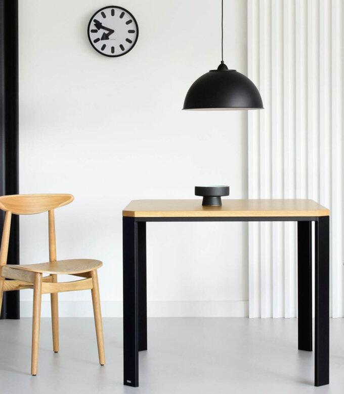 stol nowoczesny prostokatny debowy stalowy