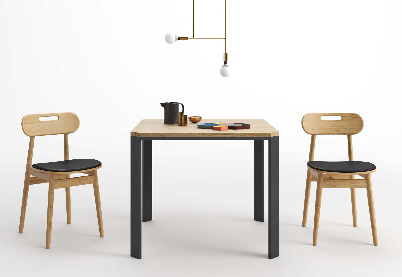 kwadratowy nowoczesny stol debowy czarny