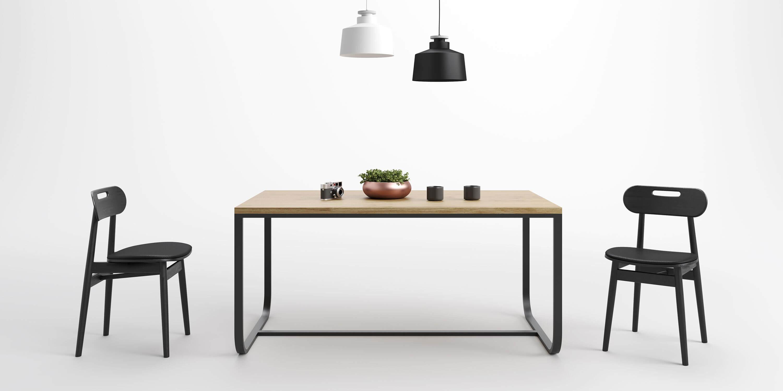 stol czarny w stylu skandynawskim debowy blat
